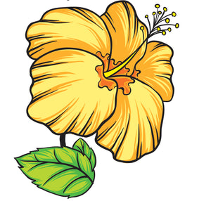 Pretty Hawaiian Tropical Hibiscus Flower Yellow Vinyl Decal Sticker