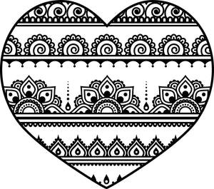 Pretty Henna Lace Pattern Heart Icon Vinyl Decal Sticker