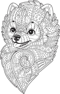 Pretty Henna Paisley Coloring Book Pommeranian Puppy Dog Vinyl Decal Sticker