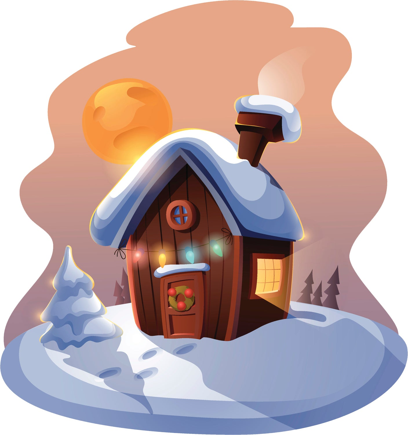 Pretty Holiday Christmas Winter Cabin Cartoon Vinyl Decal Sticker