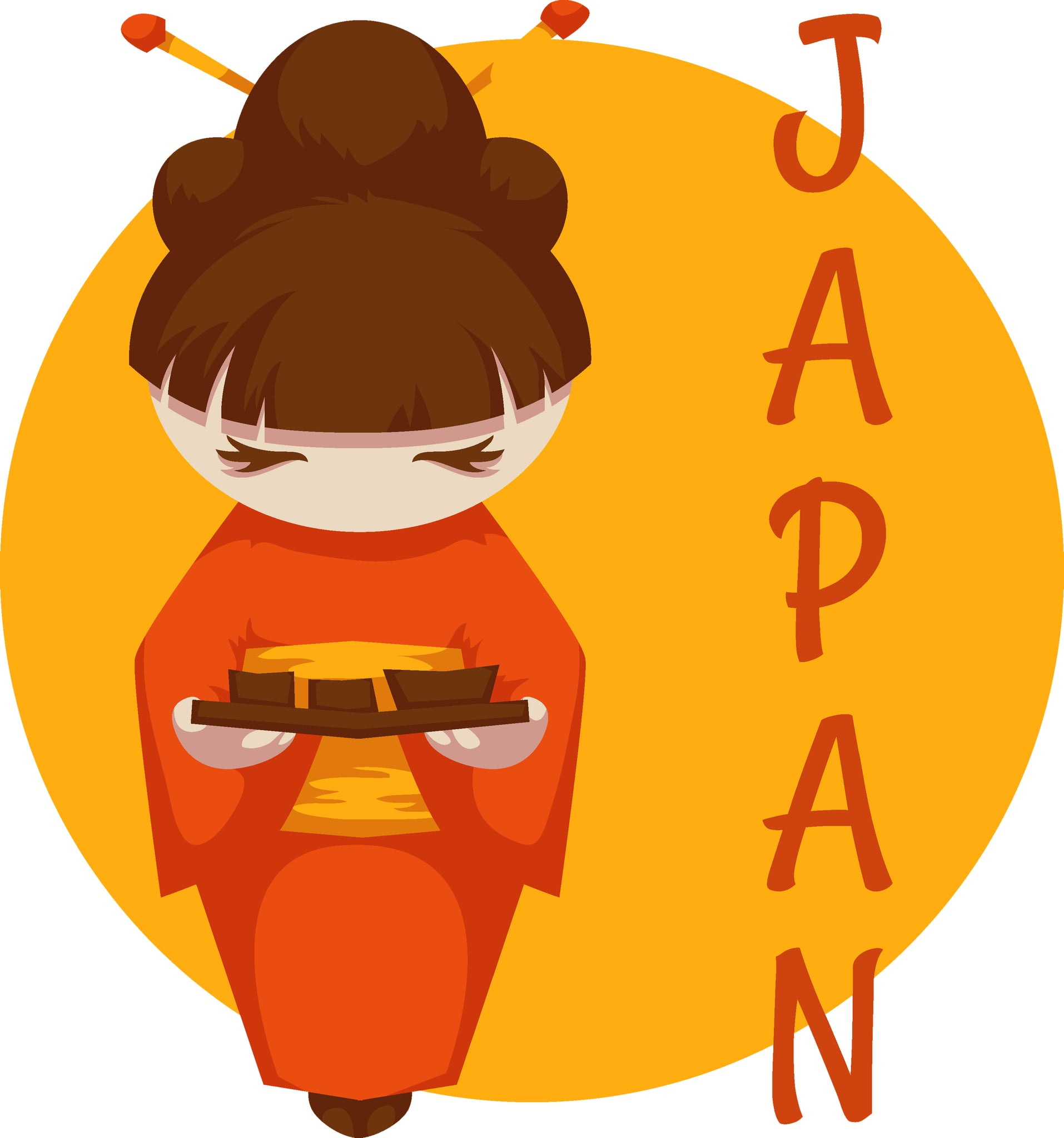 Pretty Japanese Girl in Kimono with Tea Tray Vinyl Decal Sticker