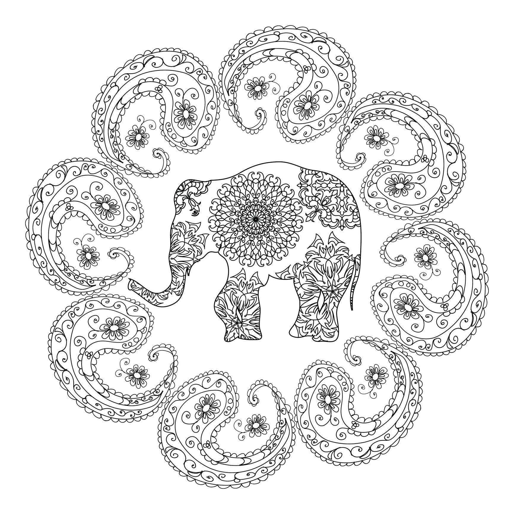 Pretty Mandala Patterned Elephant with Paisley Leaf Border Vinyl Decal Sticker