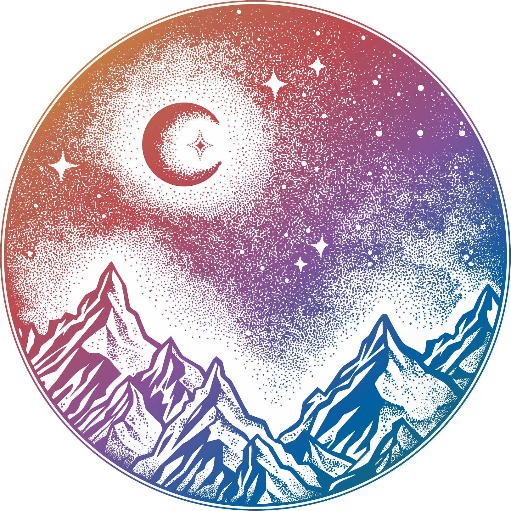 Pretty Mountain Forest Landscape Pen Art Icon - Circle Rainbow Ombre Vinyl Decal Sticker