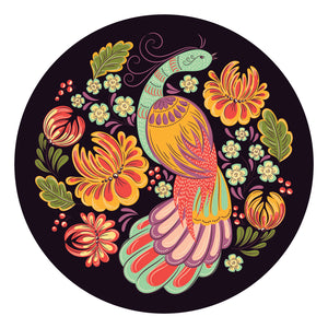 Pretty Multicolor Peacock and Flower Icon Vinyl Decal Sticker