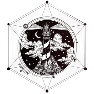 Pretty Mystical Light House in Geometric Hexagon Icon Vinyl Decal Sticker