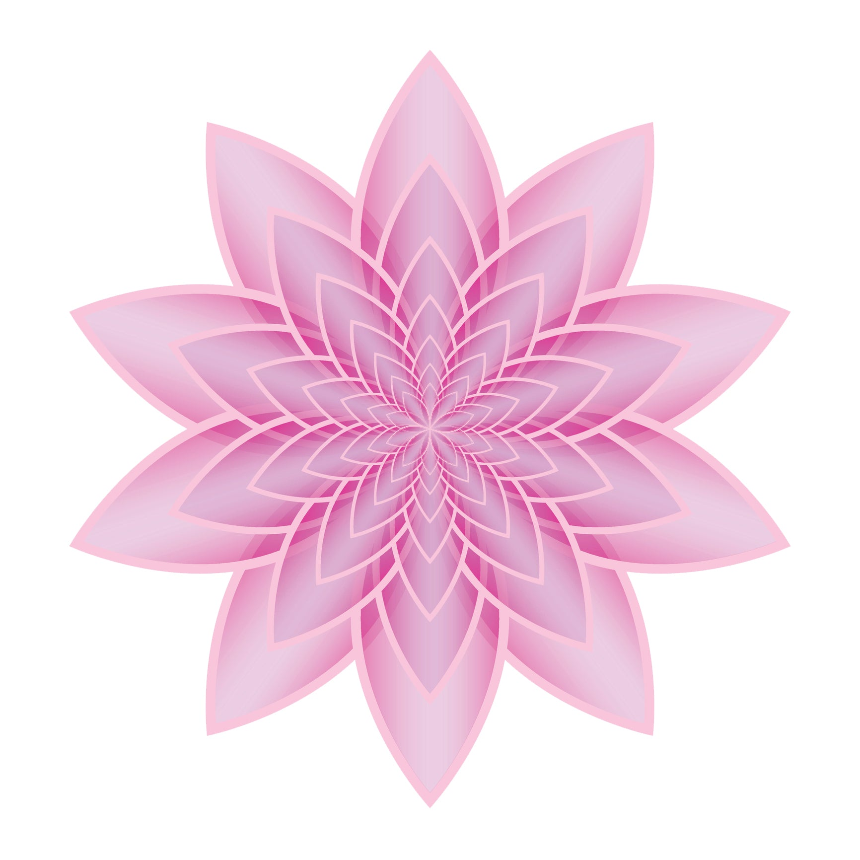 Pretty Ombre Pink Optical Illusion Lily Lotus Flower Icon Vinyl Decal Sticker