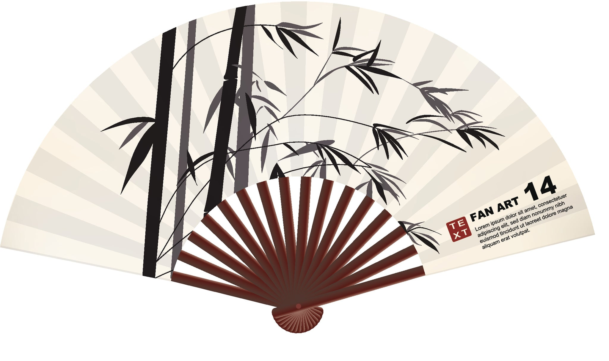 Pretty Oriental Asian Folding Fan - #1 Vinyl Decal Sticker