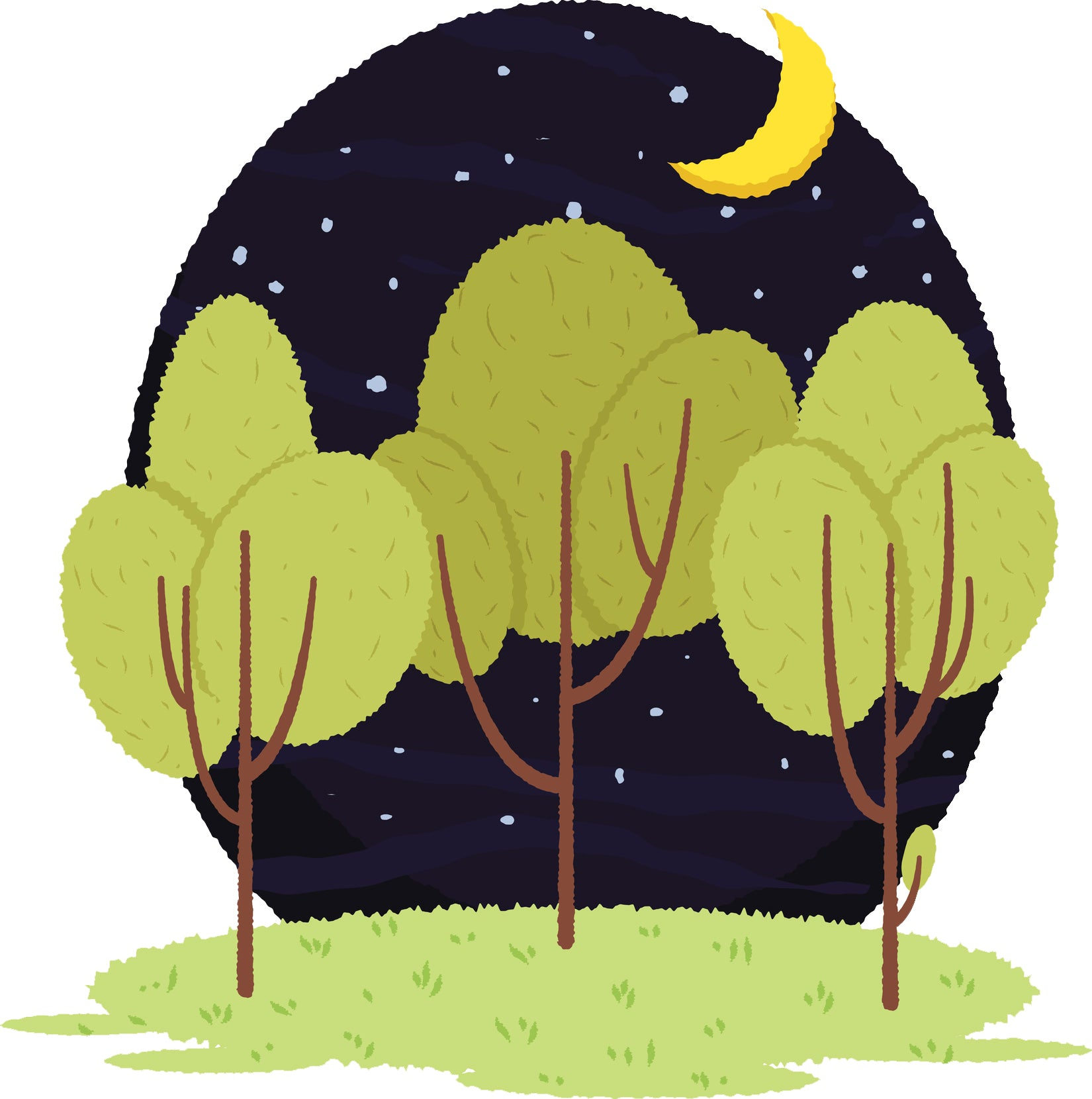 Pretty Outdoor Forest Woodland Nature Cartoon - Night Vinyl Decal Sticker