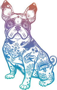 Pretty Pastel Ombre Tattooed French Bulldog Cartoon Art Vinyl Decal Sticker