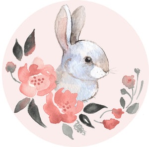 Pretty Pastel Spring Watercolor Art Icon - Bunny Rabbit and Flowers Vinyl Decal Sticker