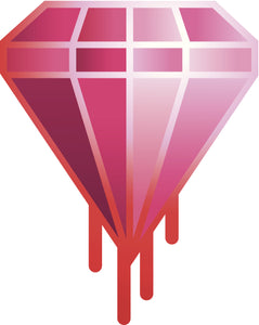 Pretty Pink Dripping Diamond Cartoon Icon Vinyl Decal Sticker