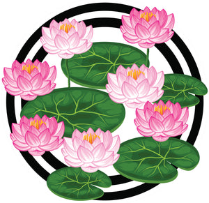 Pretty Pink and White Lotus Lily Pad Vinyl Decal Sticker