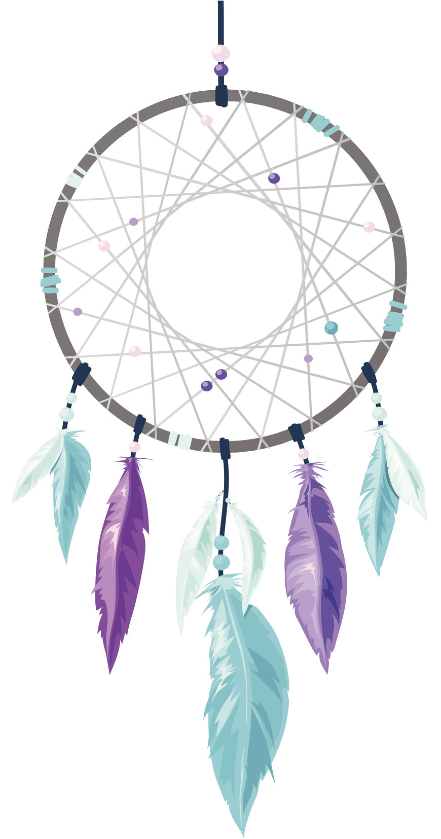 Pretty Purple Watercolor Dream Catcher - Feathers Vinyl Decal Sticker