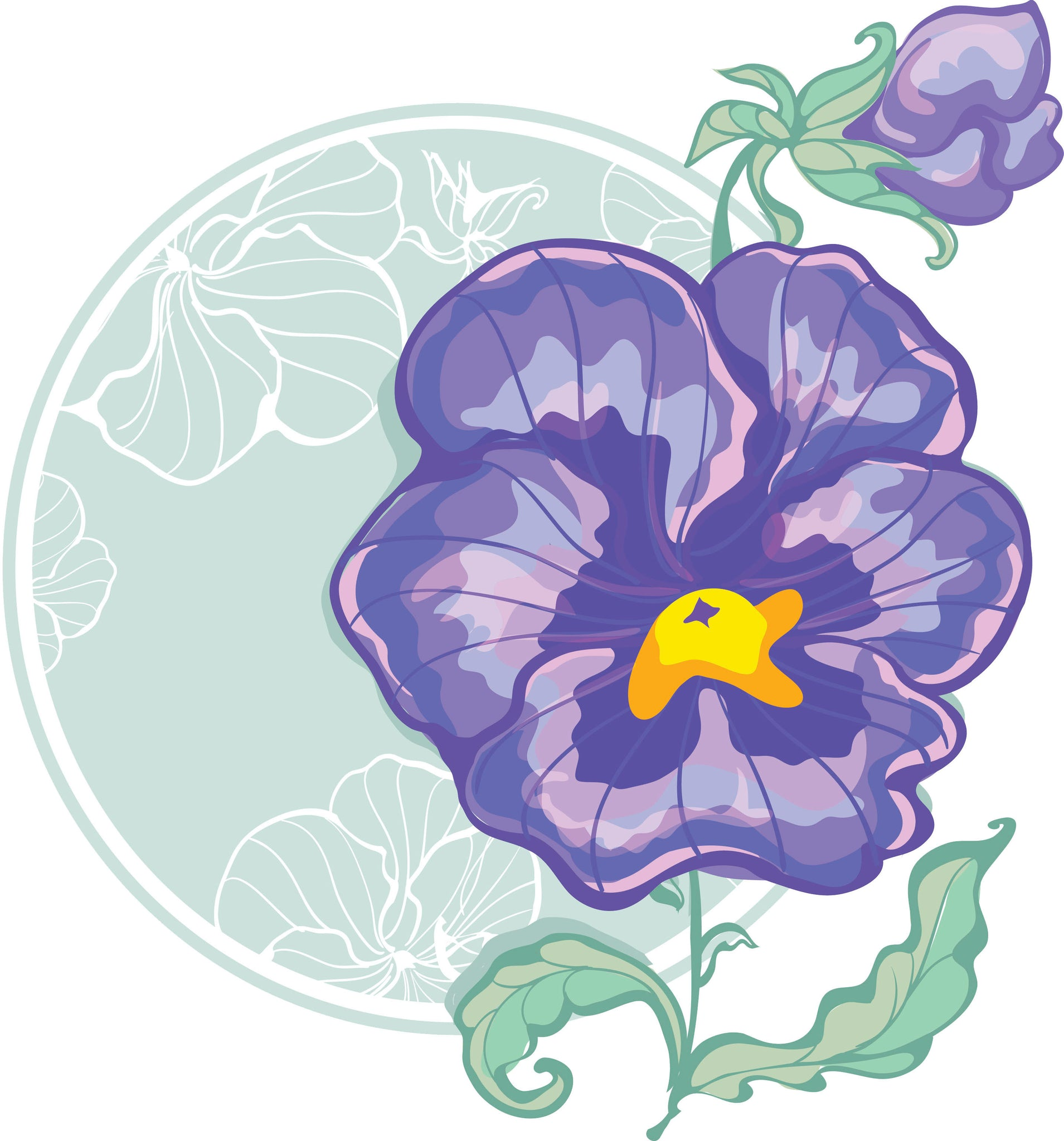 Pretty Purple Watercolor Iris Flower Icon Vinyl Decal Sticker