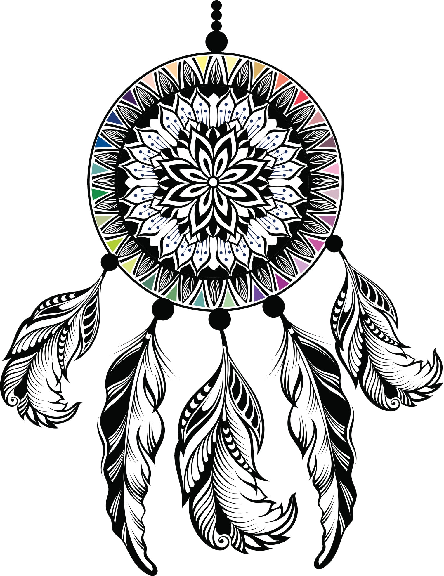 Pretty Rainbow Mandala Flower Dream Catcher Cartoon Vinyl Decal Sticker