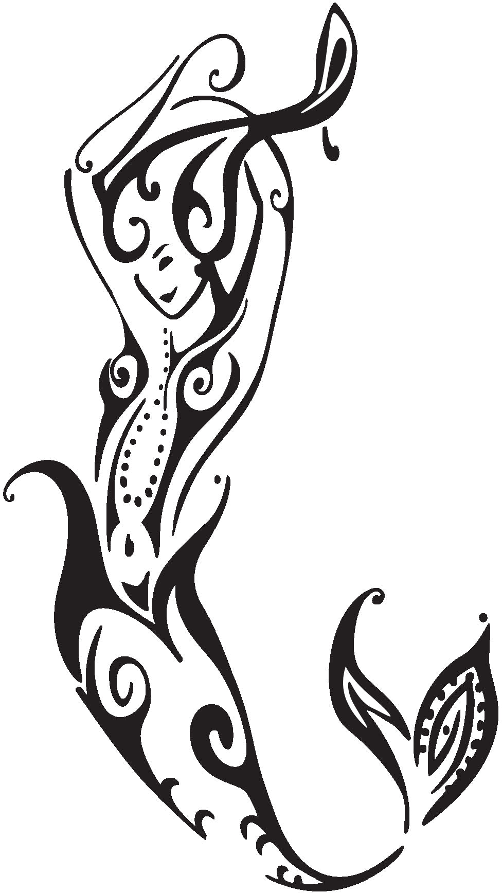 Pretty Sexy Tattoo Style Mermaid Fairy Cartoon Art - Mermaid #4 Vinyl Decal Sticker