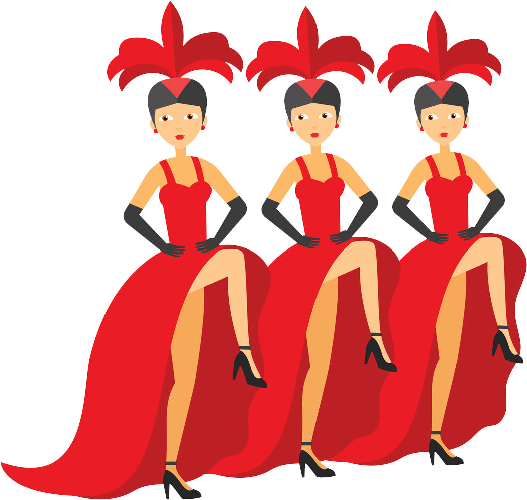 Pretty Showgirl Line Dancers Cartoon Icon Vinyl Decal Sticker