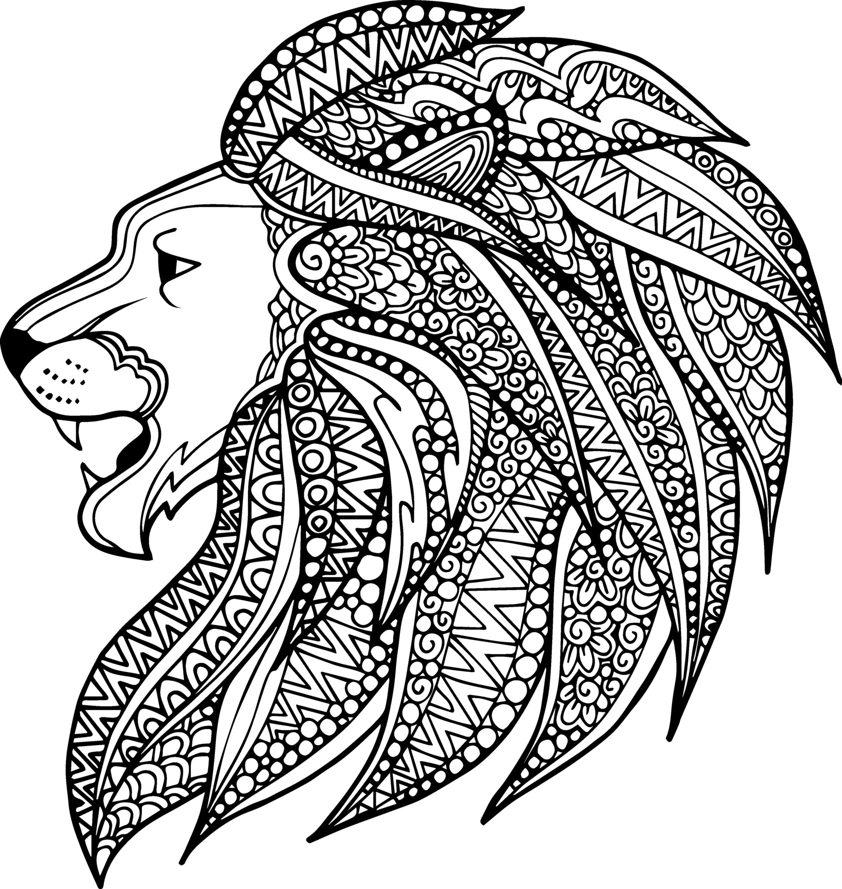 Pretty Side Profile Lion with Tribal Pattern Mane Vinyl Decal Sticker