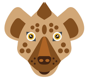 Pretty Tribal Brown Hyena Head Cartoon Vinyl Decal Sticker