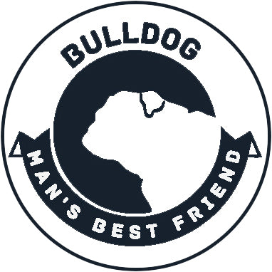 Pure Breed Puppy Dog Silhouette with Man's Best Friend Banner Icon #1 - Bulldog Vinyl Decal Sticker