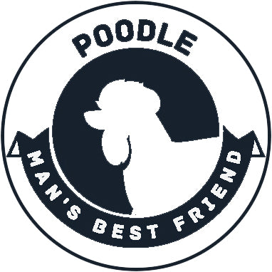 Pure Breed Puppy Dog Silhouette with Man's Best Friend Banner Icon #1 - Poodle Vinyl Decal Sticker