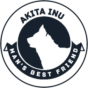 Pure Breed Puppy Dog Silhouette with Man's Best Friend Banner Icon #2 - Akita Inu Vinyl Decal Sticker