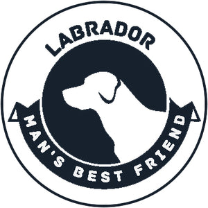 Pure Breed Puppy Dog Silhouette with Man's Best Friend Banner Icon #2 - Labrador Vinyl Decal Sticker