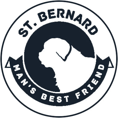Pure Breed Puppy Dog Silhouette with Man's Best Friend Banner Icon #2 - St. Bernard Vinyl Decal Sticker