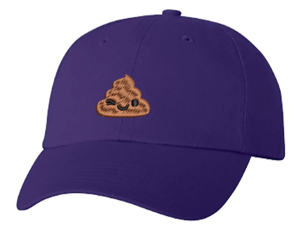 Unisex Adult Washed Dad Hat Happy Poop Emoji Cartoon (2) Embroidery Sketch Design