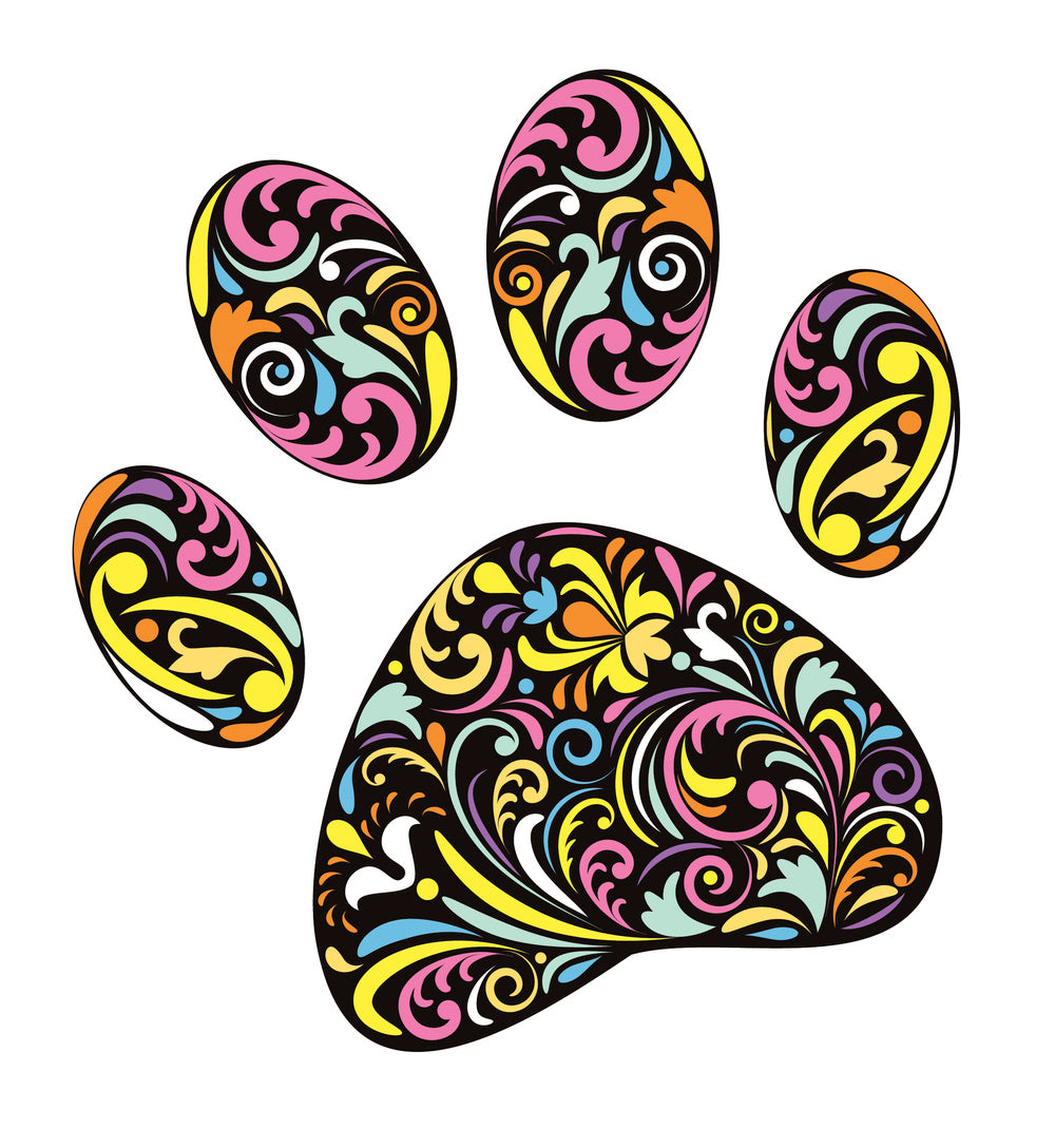 Rainbow Demask Style Pattern Paw Print Vinyl Decal Sticker