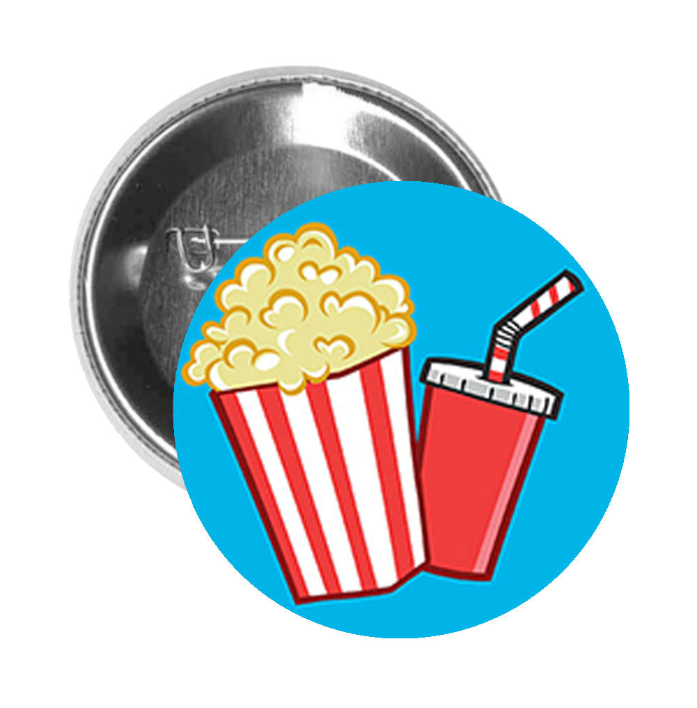 Round Pinback Button Pin Brooch Retro Cute Movie Theater Popcorn Soda Shinobi Stickers