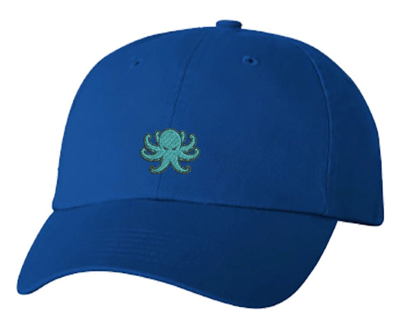 Unisex Adult Washed Dad Hat Simple Angry Teal Octopus Cartoon Emoji Embroidery Sketch Design