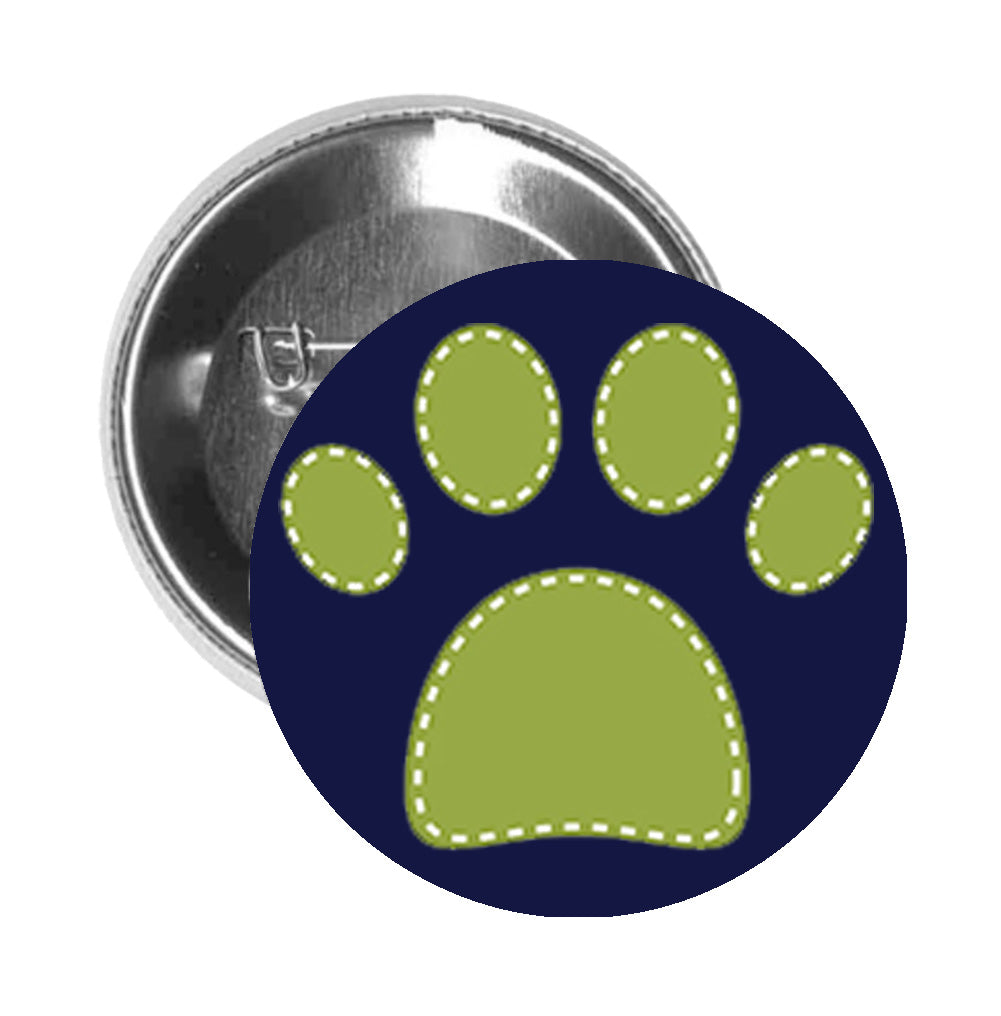 Round Pinback Button Pin Brooch SPOTTED DOG PET PAW PRINT GREEN WHITE - Blue