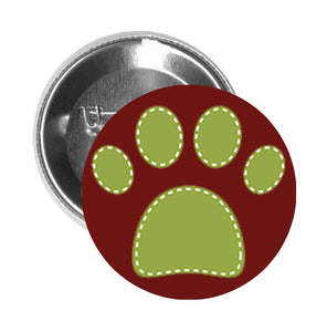 Round Pinback Button Pin Brooch SPOTTED DOG PET PAW PRINT GREEN WHITE - Maroon