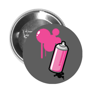 Round Pinback Button Pin Brooch SPRAY PAINT CAN WITH BUBBLES GRAFFITI PINK BLACK - Grey