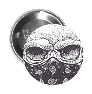 Round Pinback Button Pin Brooch Scary Detailed Gangster Skull (2) - Zoom