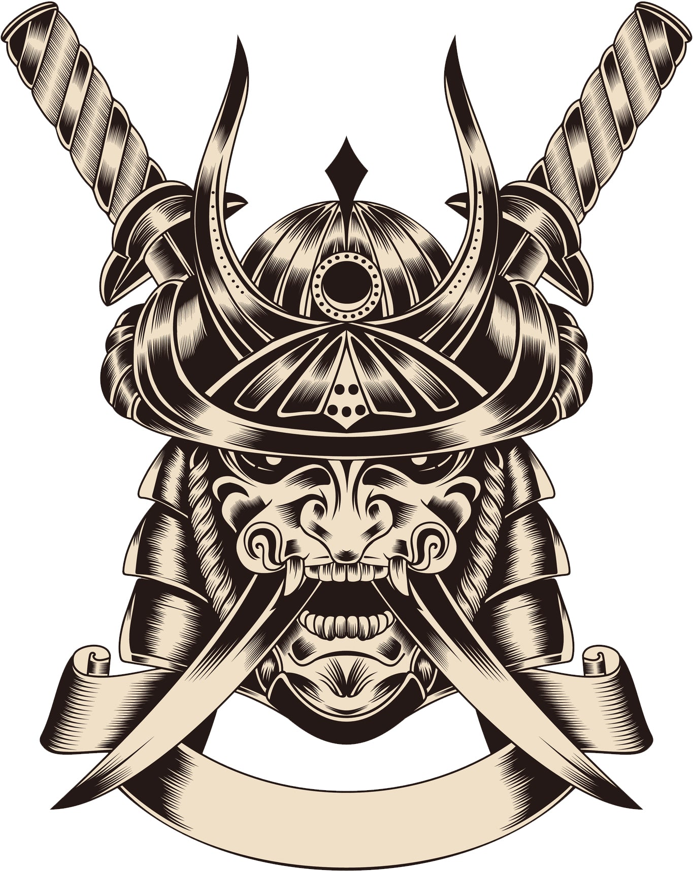 Scary Metal Japanese Soilder with Swords and Banner Vinyl Decal Sticker