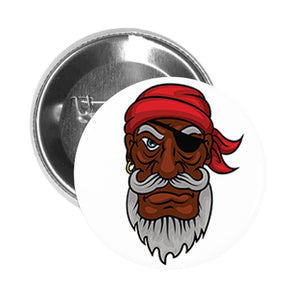 Round Pinback Button Pin Brooch Serious Old Pirate with Bandana and Eyepatch Cartoon
