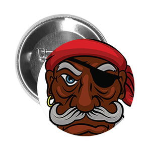 Round Pinback Button Pin Brooch Serious Old Pirate with Bandana and Eyepatch Cartoon - Zoom