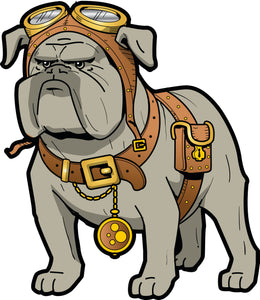 Serious Bulldog with Aviator Goggles Vinyl Decal Sticker