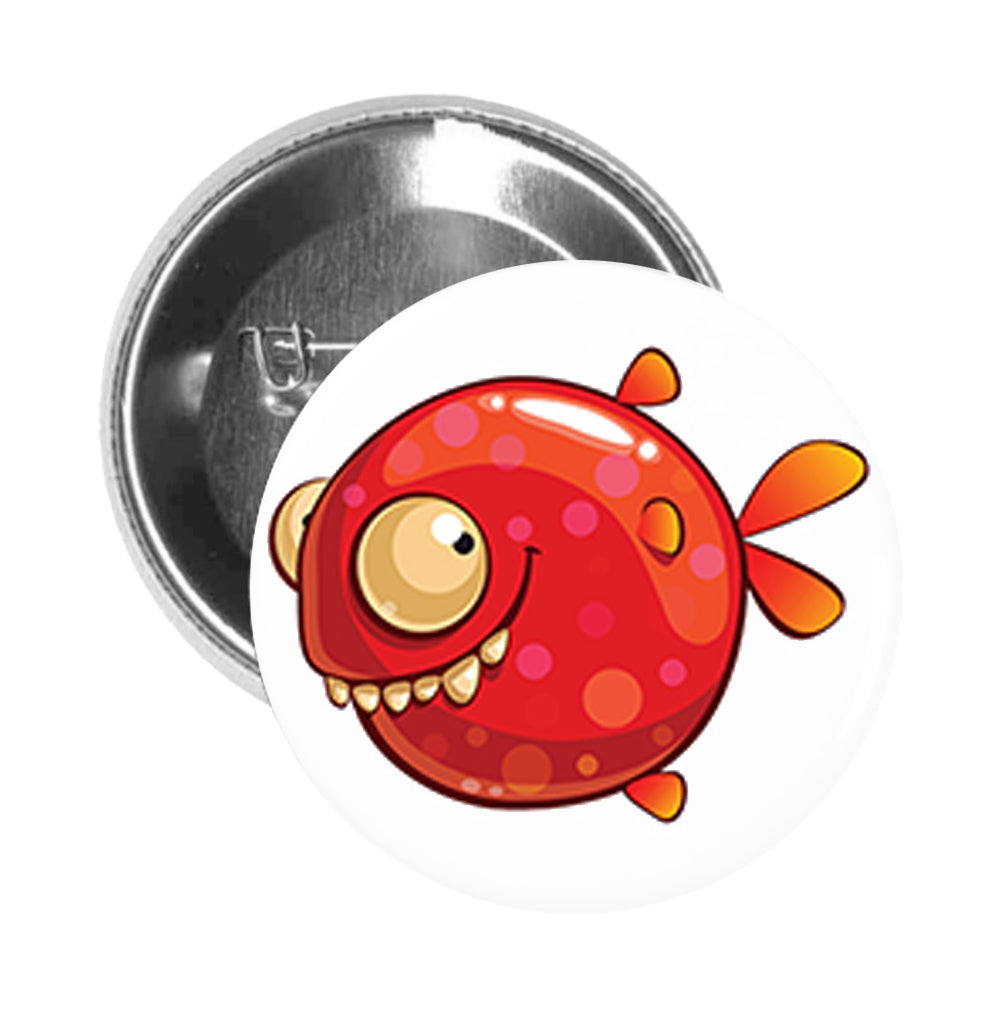 Round Pinback Button Pin Brooch Silly Funny Polka Dot Fish Cartoon