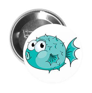 Round Pinback Button Pin Brooch Silly Funny Puffer Fish with Puffed Lips Swimming Under the Sea - Teal