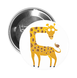Round Pinback Button Pin Brooch Silly Funny Scared Yellow Giraffe Cartoon