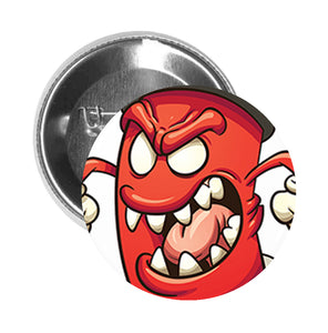 Round Pinback Button Pin Brooch Silly Funny Spray Can Cartoon Emoji - Angry Red - Zoom