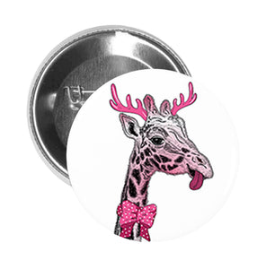Round Pinback Button Pin Brooch Silly Giraffe with Pink Bow Antlers Sticking Out Tongue Funny Animal Cartoon