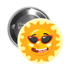 Round Pinback Button Pin Brooch Silly Goofy Emotional Shiny Sun Cartoon - Sunglasses