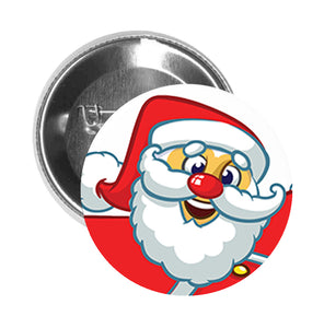 Round Pinback Button Pin Brooch Silly Goofy Funny Fat Chubby Santa Claus Cartoon - Zoom