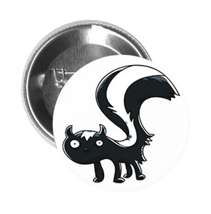 Round Pinback Button Pin Brooch Silly Goofy Skunk Cartoon