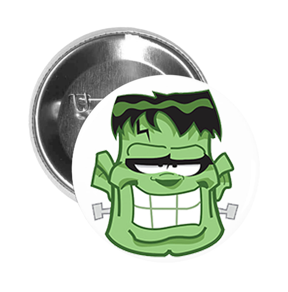 Round Pinback Button Pin Brooch Silly Green Frankenstein Monster Head
