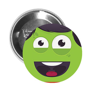 Round Pinback Button Pin Brooch Silly Green Monster Face Icon